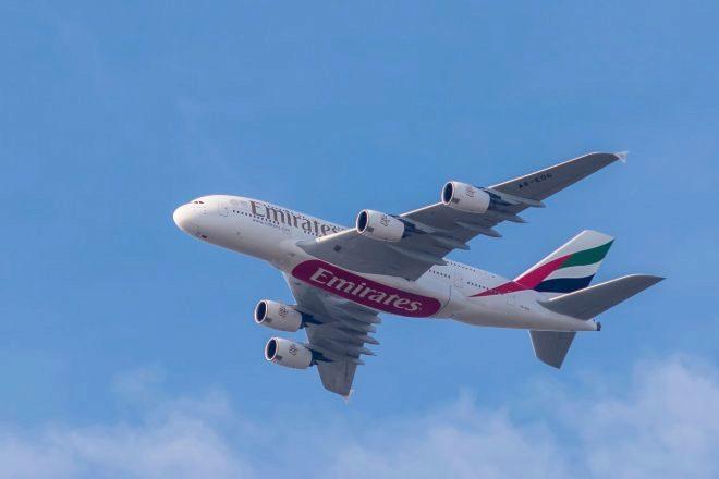 Avión de Airbus perteneciente a la flota de Emirates.