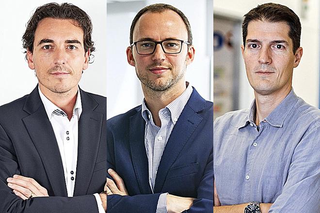 Joan Perelló, fundador y CEO de Sanifit; Marc Martinell, consejero delegado de Minoryx, y Roger Gomis, fundador de la 'start up' Inbiomotion.