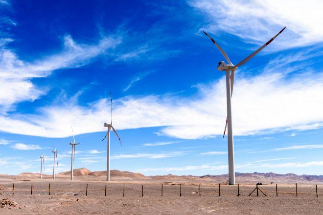 Imagen del desierto de Atacama, en Chile, donde se genera una parte relevante de la energía eólica que consume el país.