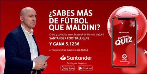 Banco Santander ha apostado desde los inicios por el canal de Youtube de Julio Maldonado <em>Maldini </em>, talento de You First, como forma de relacionarse con los aficionados al fútbol.