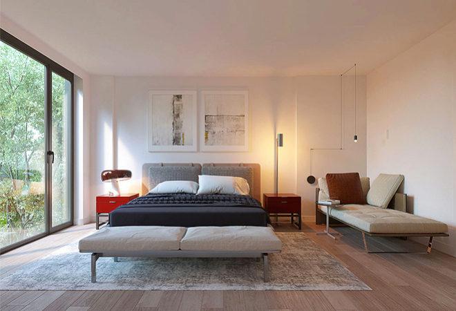 Uno de los cuatro dormitorios del ático de Tamara Falcó.