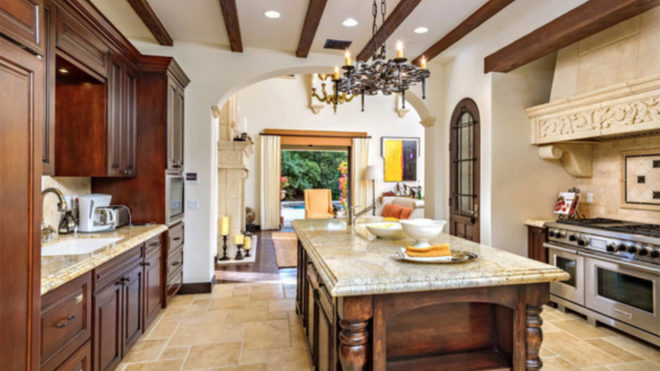 Kitchen of the house that Stallone sells in Beverly Hills.