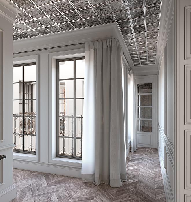 El estilo clásico del edificio se mantiene en la propuesta interior.