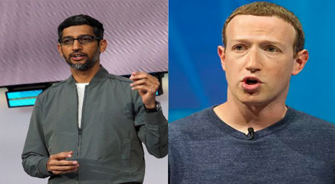 Sundar Pichai, CEO de Google, y Mark Zuckerberg, CEO de Facebook.