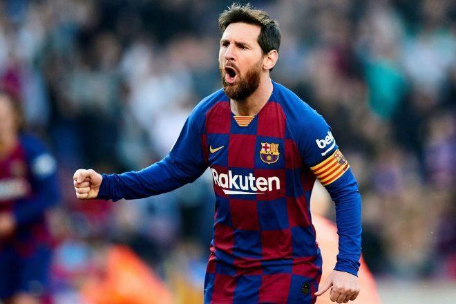 Lionel Messi celebrando un gol durante un partido de LaLiga Santander.