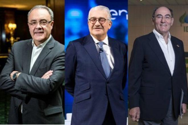 De izquierda a derecha, Tobías Martínez, consejero delegado de Cellnex; José Bogas, consejero delegado de Endesa, e Ignacio Sánchez Galán, presidente de Iberdrola.