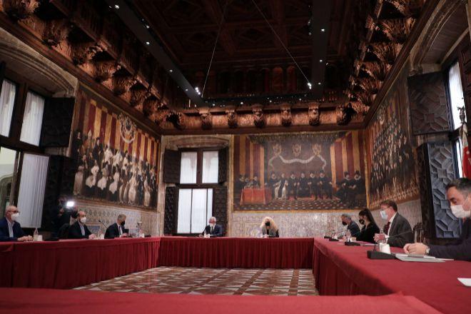 Imagen de la reunión en el Palau de la Generalitat.
