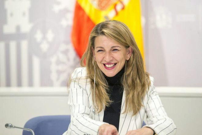 La responsable de Trabajo y Economía Social, Yolanda Díaz, en la rueda de prensa de un Consejo de Ministros.