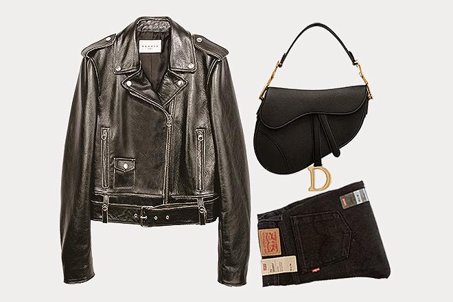Un bolso de Dior, una Perfecto de cuero de Sandro y vaqueros Levis, su <em>look</em> ideal.
