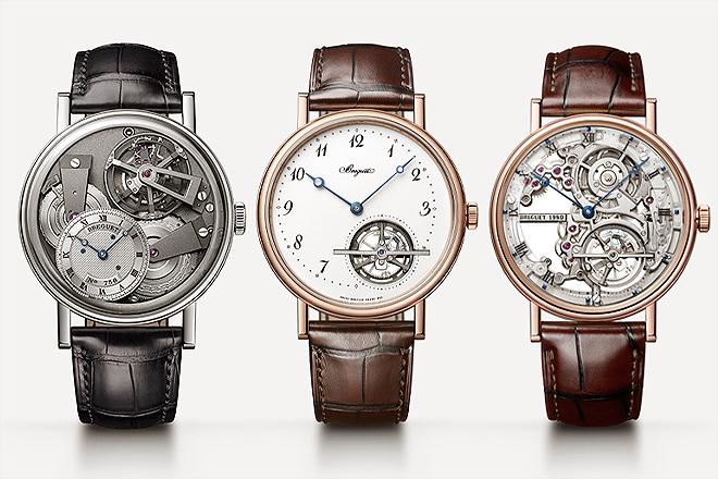 Distintos modelos de relojes con tourbillon realizados por la manufactura suiza Breguet.