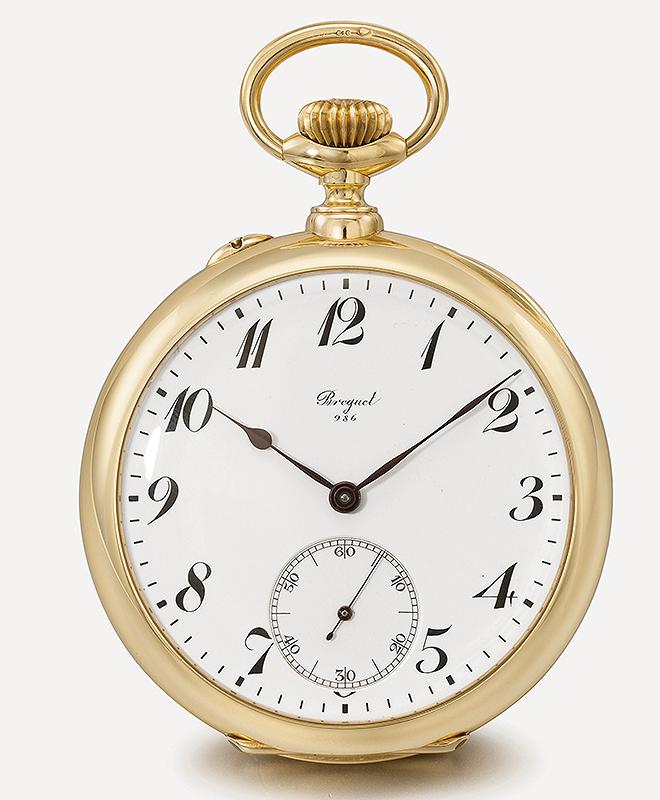 Reloj tourbillon simple B986. Caja de oro de 56 milímetros de diámetro y esfera de esmalte. Vendido el 1 de febrero de 1926 a Louis-Harrison Dulles por 20.000 francos.