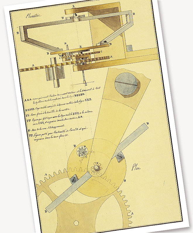 Plancha de acuarela de la patente del Regulador de Tourbillon.