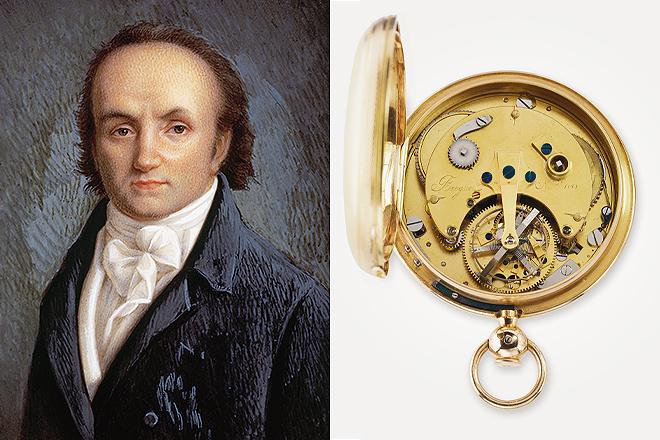 Retrato de Abraham-Louise Breguet y parte trasera del B1188 Reloj Tourbillon. Caja de oro de 65 milímetros de diámetro. Fue vendido en agosto de 1808 al Príncipe Antonio de Borbón de España por 3.600 francos. Actualmente se encuentra en el Museo Breguet.