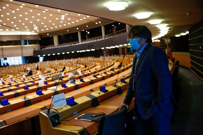 Puigdemont, este lunes en el Parlamento Europeo.
