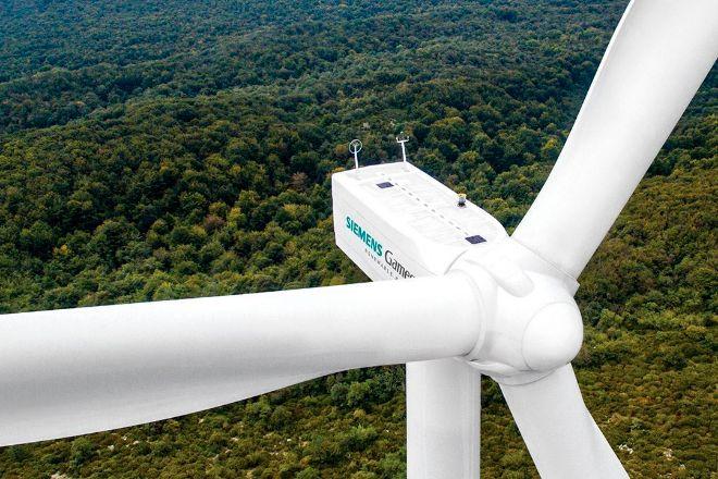 Imagen de un aerogenerador de Siemens Gamesa