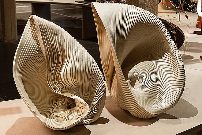 Esculturas textiles de Mercedes Vicente.