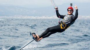 Denis Taradin celebra su triunfo en la Cutty Sark FKSS 2021 Mallorca....