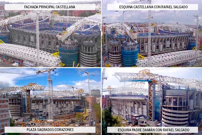Imágenes del estado de las obras del Santiago Bernabéu a 5 de abril de 2021 tomada por la cuatro cámaras en tiempo real que instaló la entidad frente a los cuatro esquinazos.