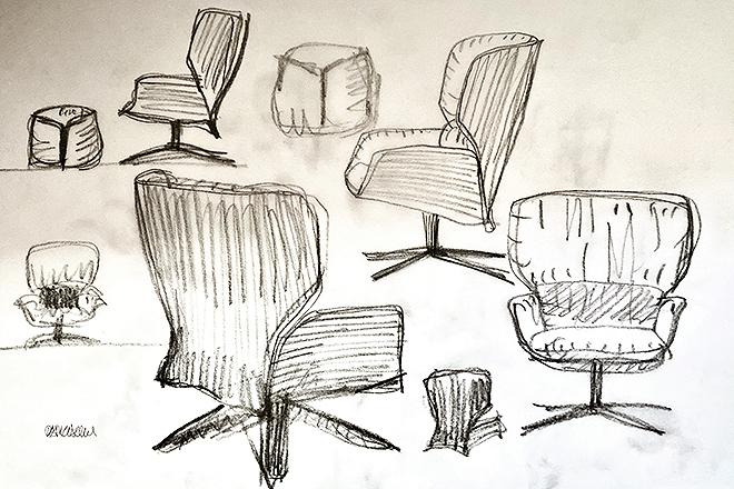 Bocetos de Urquiola de la silla y el reposapiés.