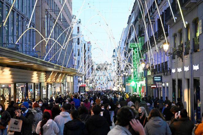 Calle de Preciados (Madrid), en las última campaña navideña.
