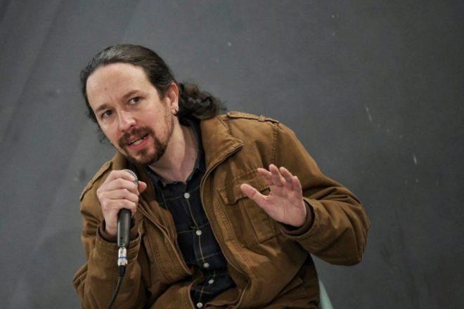 El líder y candidato de Podemos a la presidencia de la Comunidad de Madrid, Pablo Iglesias, el sábado durante un acto de campaña en Parla.