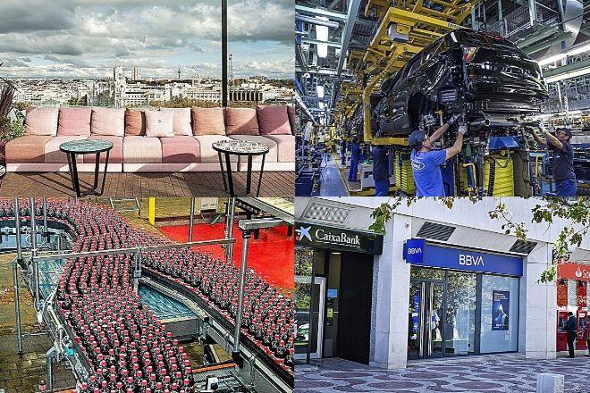 De izquierda a derecha y de arriba a abajo, hotel NH Collection Madrid Casa Suecia, fábrica de Ford en Almussafes (Valencia), embotelladora de Coca-Cola en Casbega (Fuenlabrada) y oficinas bancarias en Madrid.