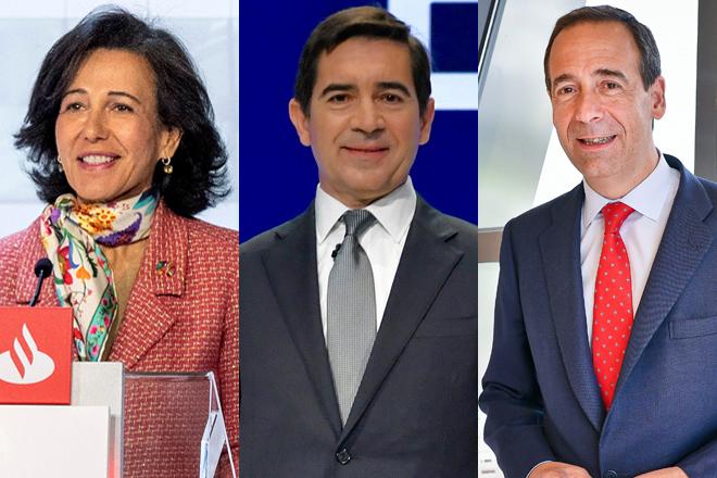 Ana Botín, presidenta de Santander; Carlos Torres, presidente de BBVA; y Gonzalo Gortázar, CEO de CaixaBank.