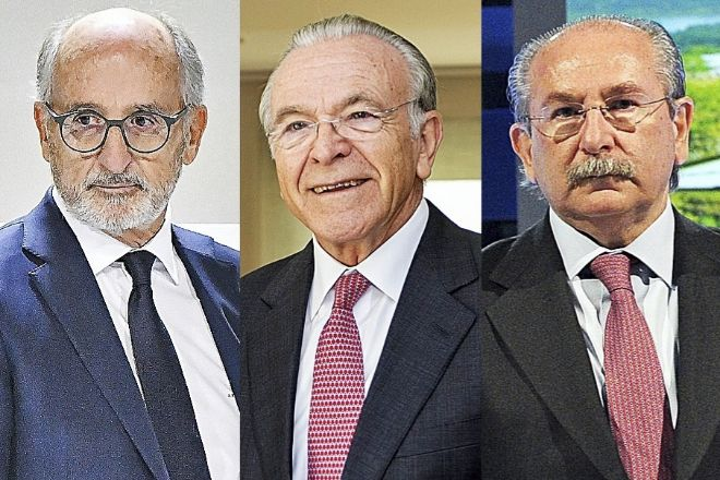 De izquierda a derecha, Antonio Brufau, presidente de Repsol; Isidro Fainé, presidente de Fundación La Caixa; y Luis del Rivero,  expresidente de Sacyr.
