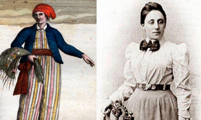 Fotografía de Jeanne Baret e ilustración de la botánica francesa vestida de hombre.