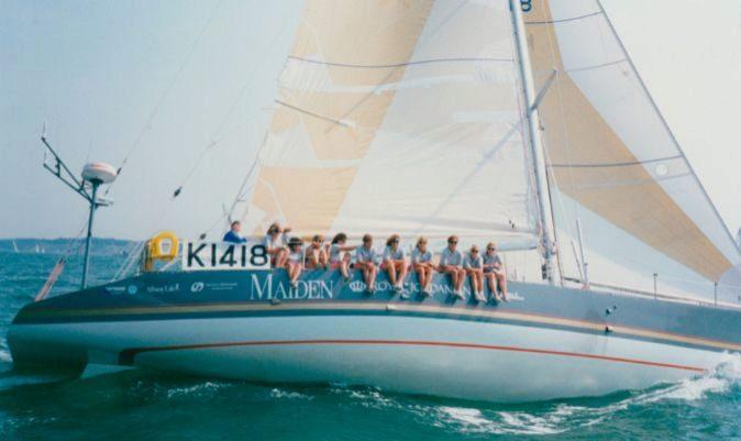 Las tripulantes del Maiden durante la Whitbread Round The World Race (actual The Ocean Race), 1989.