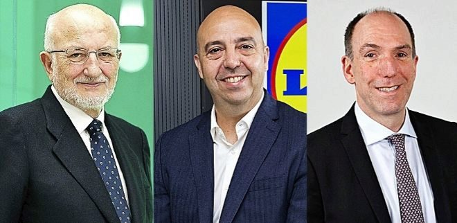 De izquierda a derecha, Juan Roig, presidente de Mercadona; Claus Grande, CEO de Lidl en España; y Stephan DuCharme, presidente ejecutivo de Dia.