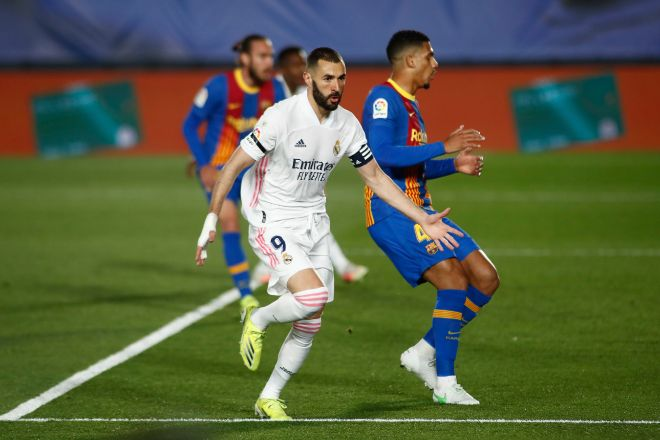 lt;HIT gt;MADRID lt;/HIT gt;, SPAIN - APRIL 10: Karim Benzema of Real lt;HIT gt;Madrid lt;/HIT gt; celebrates a goal during the spanish league, La Liga, football match played between Real lt;HIT gt;Madrid lt;/HIT gt; and FC lt;HIT gt;Barcelona lt;/HIT gt; at Alfredo Di Stefano stadium on April 10, 2021 in lt;HIT gt;Madrid lt;/HIT gt;, Spain. AFP7 / Europa Press 10/4/2021 ONLY FOR USE IN SPAIN