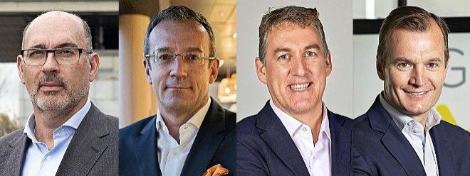 De izquierda a derecha, Emilio Gayo, presidente de Telefónica España; Jean François Fallacher, consejero delegado de Orange España; Colman Deegan, consejero delegado de Vodafone España; y Meinrad Spenger, consejero delegado de MásMóvil.