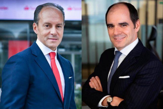 Rami Aboukhair, consejero delegado de Santander España (izq.) y Antonio Simoes, responsable del negocio de Santander en Europa (dcha.).