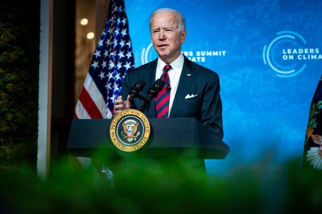 El presidente de Estados Unidos, Joe Biden, durante su intervención desde la Casa Blanca en la cumbre virtual de líderes sobre el clima.