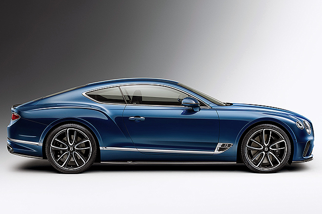 """Vista lateral del Bentley Continental GT. Entre él y su """"hermano"""" descapotable suman el 39% de las ventas de Bentley en 2020."""