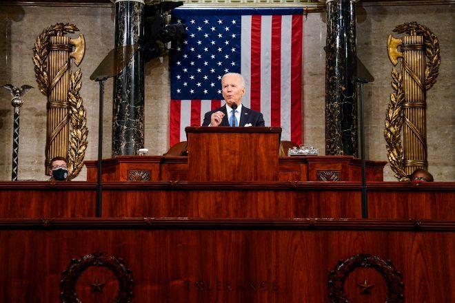 El presidente estadounidense Joe Biden, en su primer discurso en el Congreso.