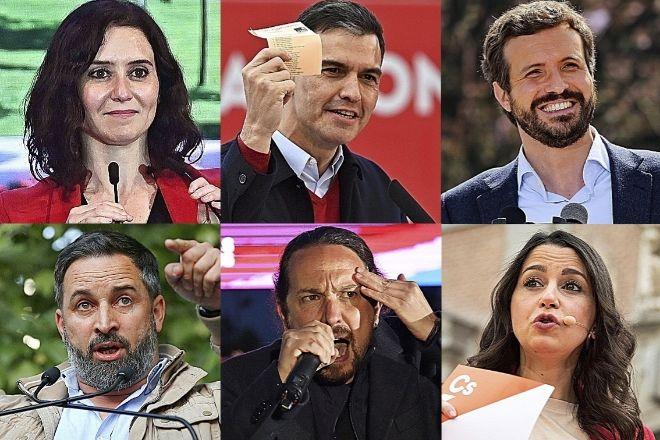 De izquierda a derecha y de arriba a abajo, Isabel Díaz Ayuso, Pedro Sánchez, Pablo Casado, Santiago Abascal, Pablo Iglesias e Inés Arrimadas.