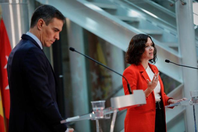 El presidente del Gobierno, Pedro Sánche, y la presidenta de la Comunidad de Madrid, Isabel Díaz Ayuso.
