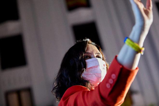 Isabel Díaz Ayuso, ayer, en la sede del PP.
