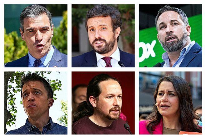 De izquierda a derecha y de arriba a abajo, Pedro Sánchez, Pablo Casado, Santiago Abascal, Íñigo Errejón, Pablo Iglesias e Inés Arrimadas.