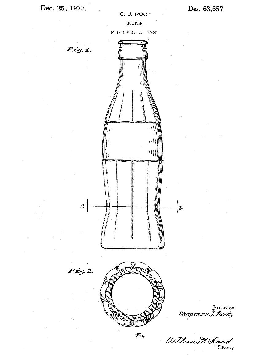 Botella que Chapman J. Root ideó para Coca-Cola. La patente le fue...
