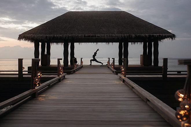 Vista del atardecer desde el Joali de Maldivas.