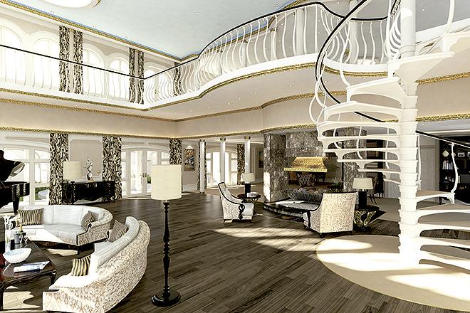 El interior está decorado al estilo de los hoteles de los años 50.