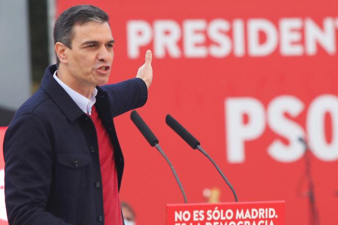 El presidente del Gobierno, Pedro Sánchez, en un mitin el 2 de mayo.