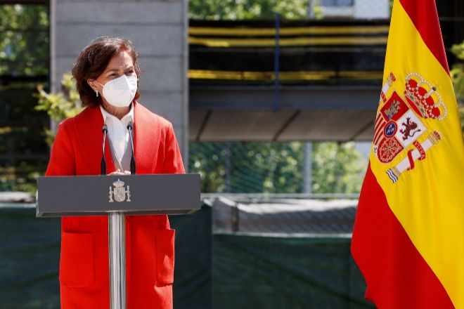 La vicepresidenta primera y ministra de la Presidencia, Relaciones con las Cortes y Memoria Democrática, Carmen Calvo, ayer en Madrid.