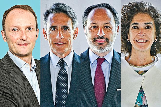 Alexandre Lefebvre, consejero delegado de Sabadell AM; Luis Megías, consejero delegado de BBVA AM; Miguel Ángel Sánchez, consejero delegado de Santander AM; y Lily Corredor, directora general de Ibercaja Gestión.