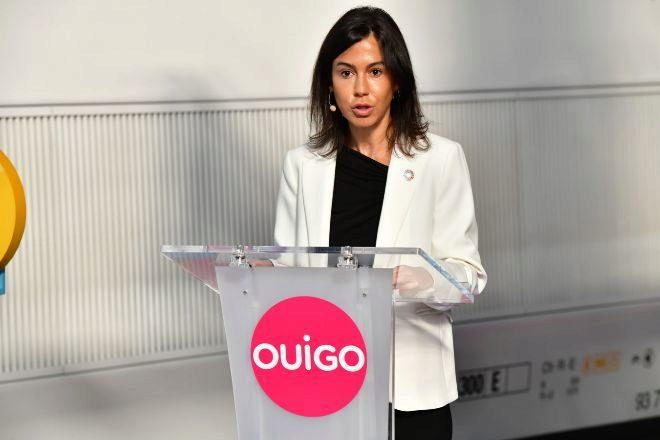 Isabel Pardo, presidenta de Adif, este viernes, en el acto de inauguración del tren Ouigo.