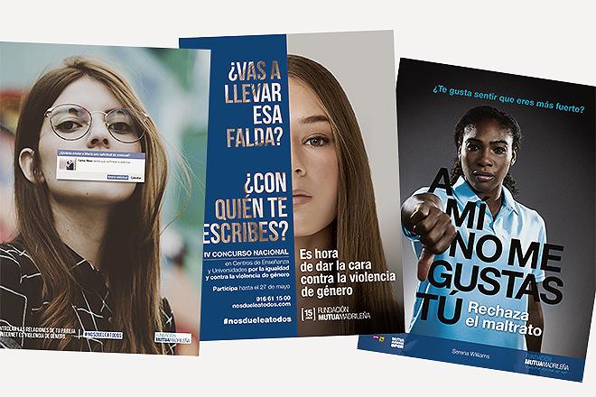 Carteles de iniciativas de sensibilización contra el maltrato, incluida una con la tenista Serena Williams.