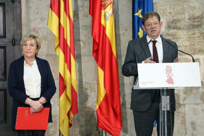 El presidente de la Generalitat, Ximo Puig, junto a la consellera de Sanidad, Ana Barceló.
